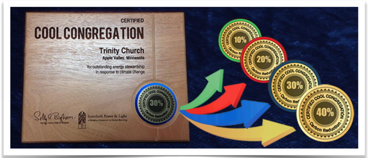 Certified Cool Congregations wall plaques for four levels of accomplishment!
