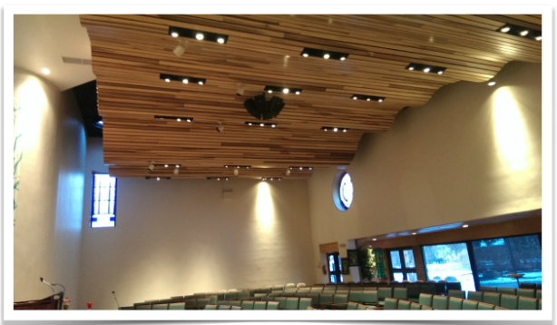 Thomas Jefferson Unitarian Church's new LED sanctuary lighting in place