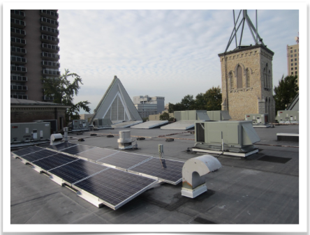 The budding solar array atop First Unitarian Church in Louisville