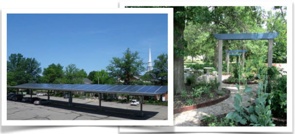 Solar parking lot canopy and adjacent permaculture garden