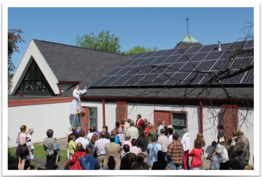 Blessing of the new solar array at St. Thomas in Bloomington